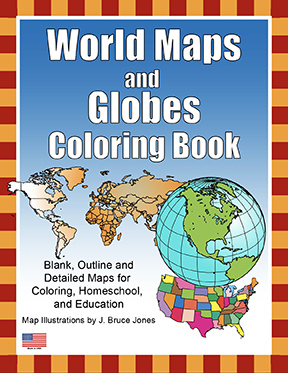 1 World Maps and Globes coloring Book