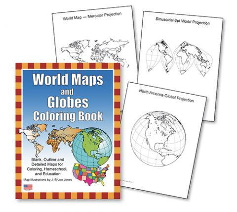 World maps and Globes color book sample pages