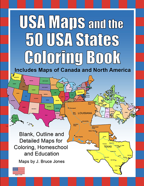 USA Maps and the 50 USA States Coloring Book