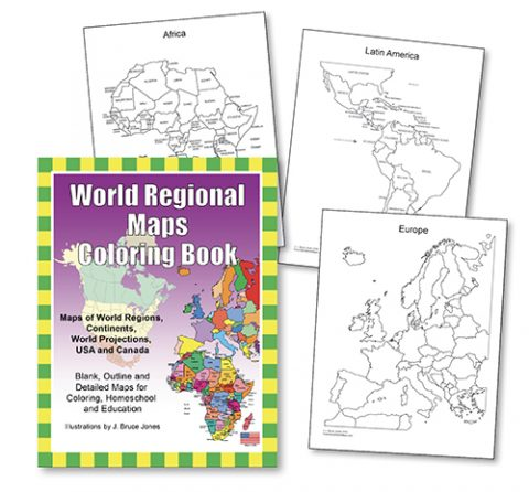 world regional maps coloring book sample images