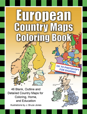 5 European country maps coloring book
