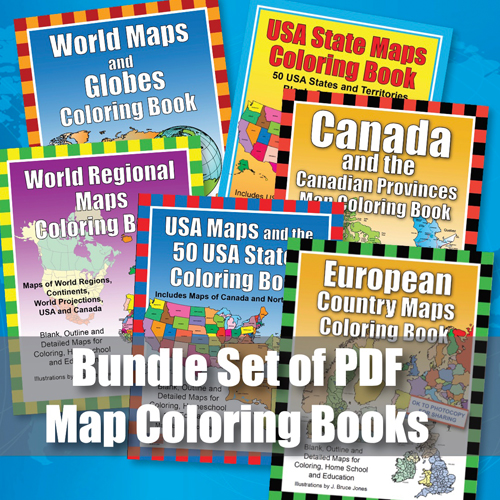 World of Maps Printable PDF Coloring Books Bundle Package