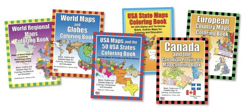 6 Maps coloring book bundle covers