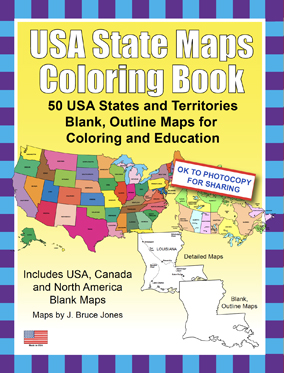 6 USA States maps Coloring Book