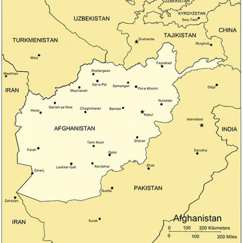 Afghanistan PowerPoint Map, Major Cities and Capital