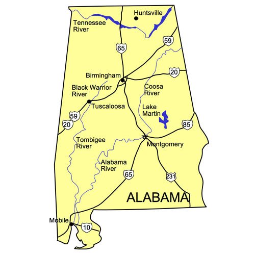 Alabama US State PowerPoint Map, Highways, Waterways, Capital and Major Cities