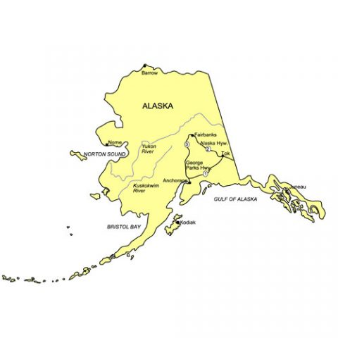 Alaska US State PowerPoint Map, Highways, Waterways, Capital and Major Cities