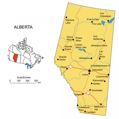 Alberta, Canada Province PowerPoint Map, Highways, Waterways, Cities