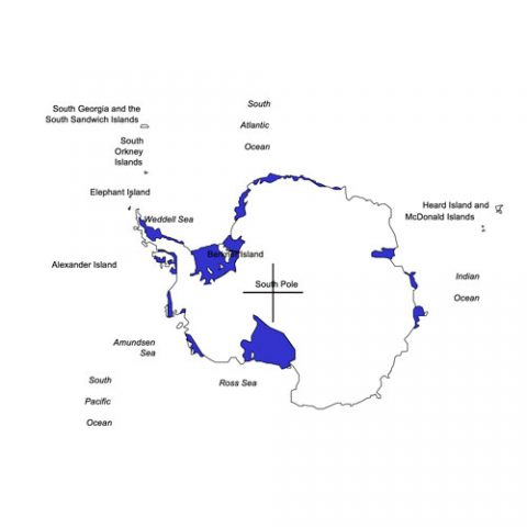 Antarctica Continental PowerPoint Map, Countries, Names