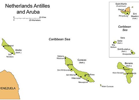Antilles and Aruba PowerPoint Map, Islands Capitals