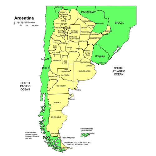 Argentina PowerPoint Map, Administrative Districts, Capitals