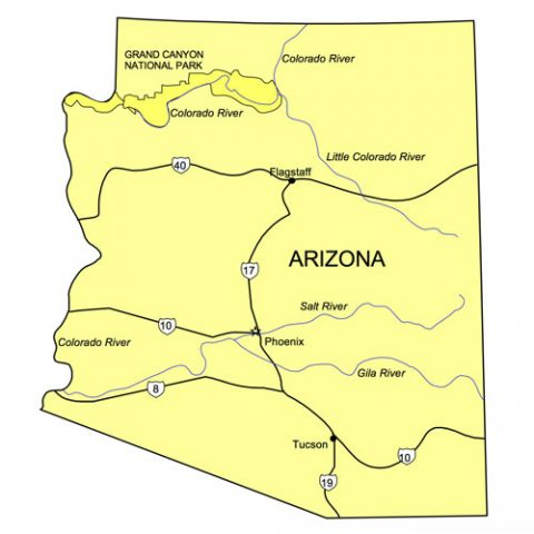 Arizona US State PowerPoint Map, Highways, Waterways, Capital and Major Cities