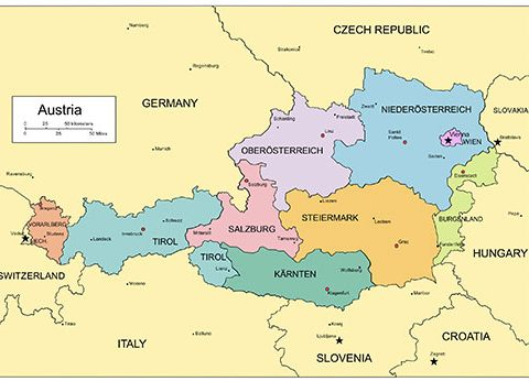 Austria PowerPoint Map, Administrative Districts, Capitals
