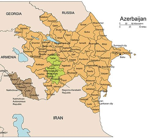 Azerbaijan Map for PowerPoint, Administrative Districts, Capitals