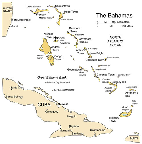 Bahamas Map for PowerPoint, Island, Administrative Districts, Capitals