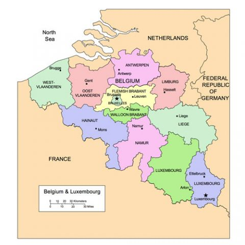 Belgium and Luxembourg Map for PowerPoint, Administrative Districts, Capitals