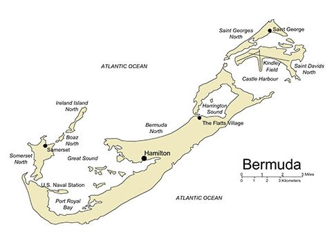 Bermuda Map for PowerPoint, Island, Capital