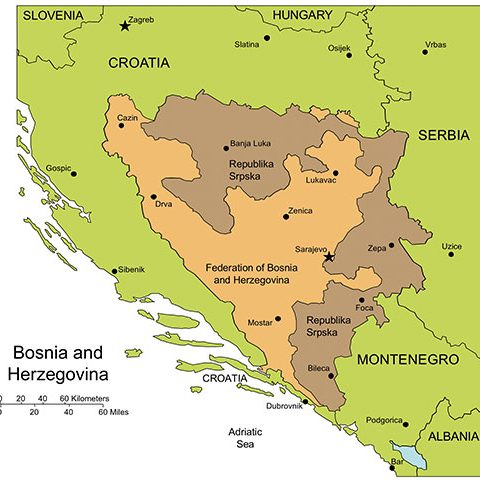 Bosnia and Herzegovina Map for PowerPoint, Administrative Districts, Capitals