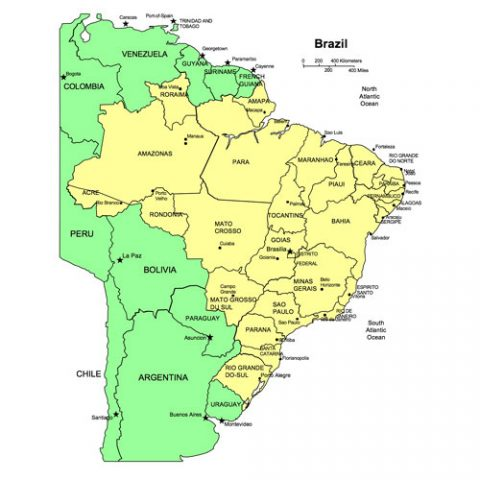 Brazil Map for PowerPoint, Administrative Districts, Capitals