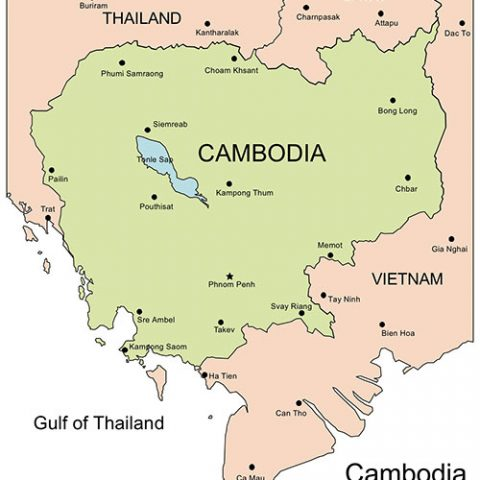 Cambodia Map for PowerPoint, Major Cities and Capital