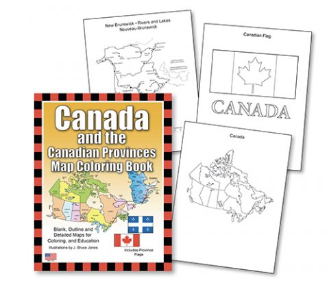 Canada and the Canadian Provinces coloring book sample maps