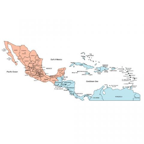 Central America Regional PowerPoint Map #2, Countries, Names