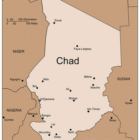 Chad Map for PowerPoint, Major Cities and Capital