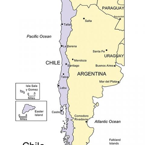 Chile Map for PowerPoint, Major Cities and Capital