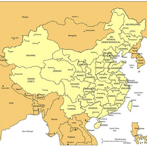 China Map for PowerPoint, Administrative Districts, Capitals, with Countries