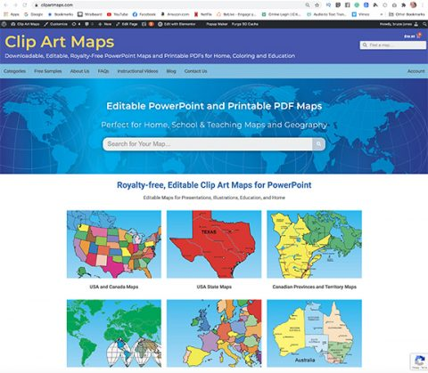 clip art maps updated and new home page and site
