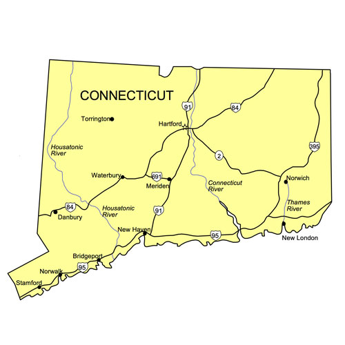 Connecticut US State PowerPower Map, Highways, Waterways, Capital and Major Cities