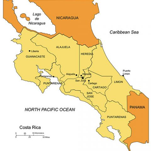 Costa Rica Map for PowerPoint, Administrative Districts, Capitals