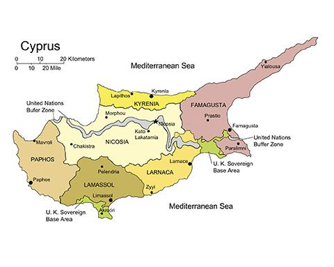 Cyprus Island Map for PowerPoint, Administrative Districts, Capitals