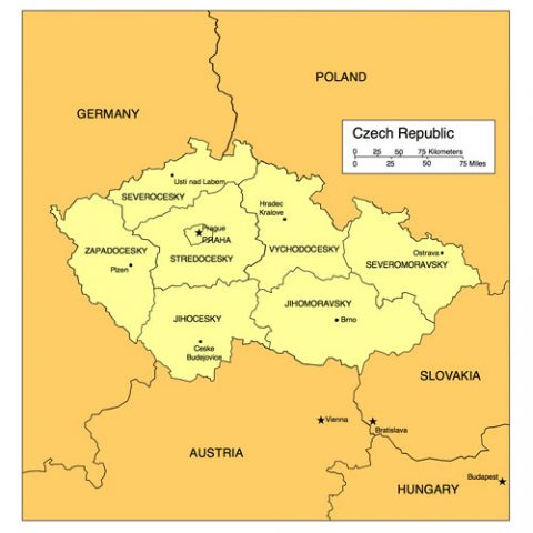Czech Republic Map for PowerPoint, Administrative Districts, Capitals