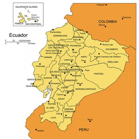 Ecuador Map for PowerPoint, Administrative Districts, Capitals
