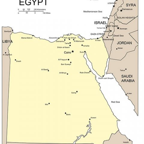 Egypt Map for PowerPoint, Major Cities and Capital