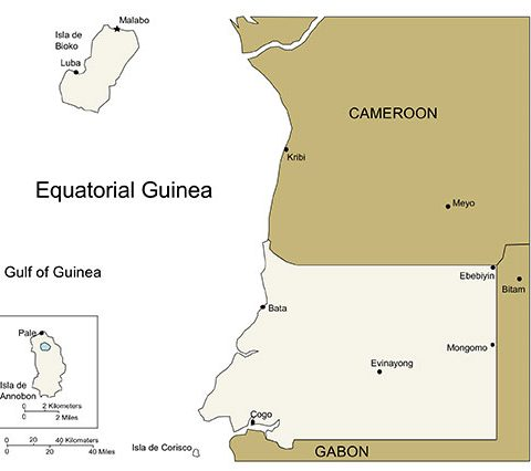 Equatorial Guinea Map for PowerPoint, Major Cities and Capital