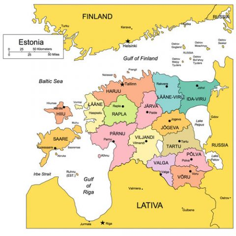 Estonia Map for PowerPoint, Administrative Districts, Capitals