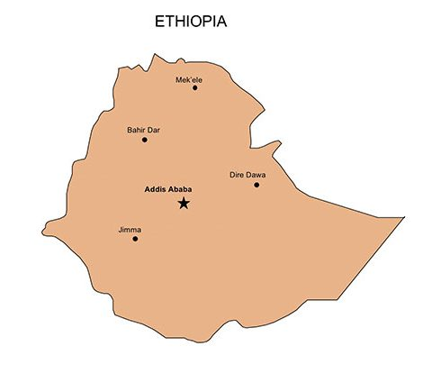 Ethiopia Map for PowerPoint, Major Cities and Capital