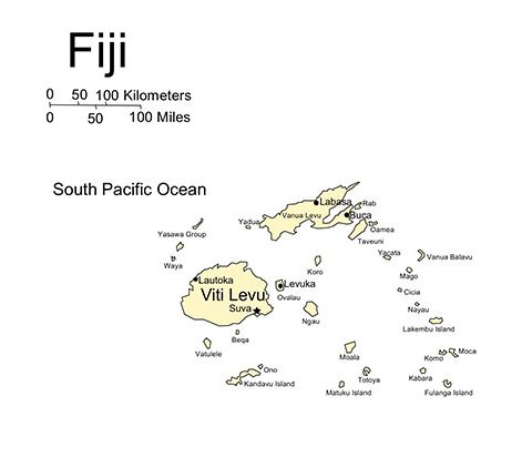 Fiji Map for PowerPoint, Island, Cities and Capital