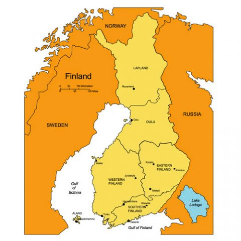 Finland Map for PowerPoint, Administrative Districts, Capitals