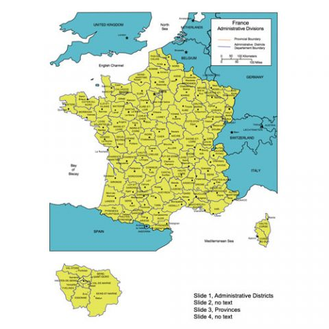 France Map for PowerPoint, Administrative Districts, Capitals