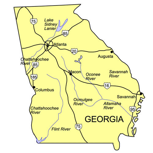 Georgia US State PowerPoint Map, Highways, Waterways, Capital and Major Cities