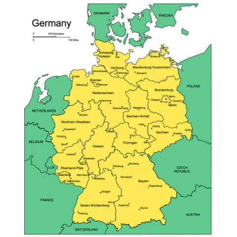 Germany Map for PowerPoint, Administrative Districts, Capitals, Major Cities