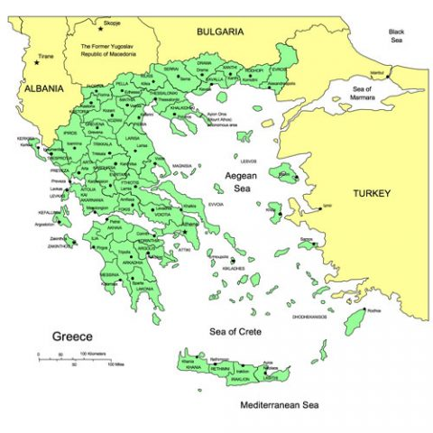 Greece Map for PowerPoint, Administrative Districts, Capitals