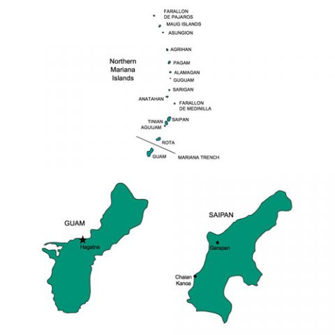 Guam Saipan PowerPoint Map, US Territory, Capital