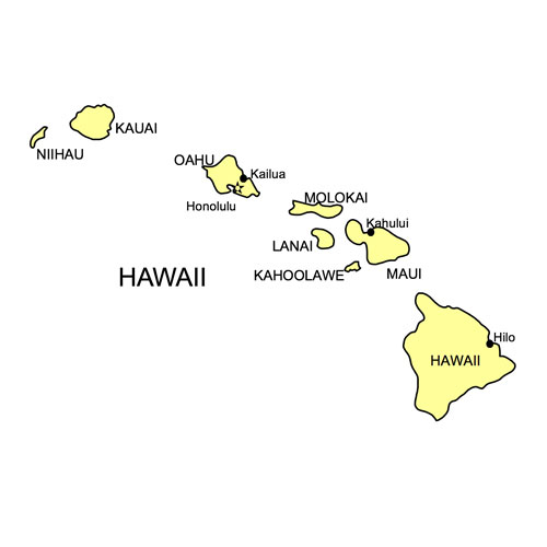 Hawaii US State PowerPoint Map, Highways, Waterways, Capital and Major Cities