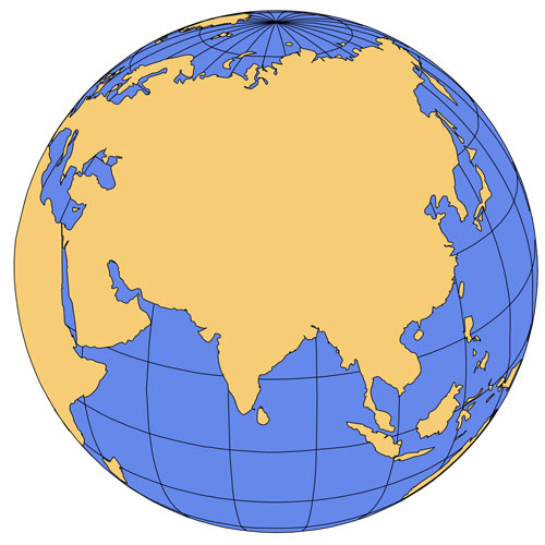 India Asia Global Projection PowerPoint Map