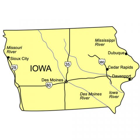 Iowa US State PowerPoint Map, Highways, Waterways, Capital and Major Cities