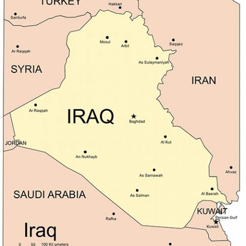 Iraq Map for PowerPoint, Major Cities and Capital